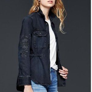 Like New GAP Embroidered Shirt Jacket